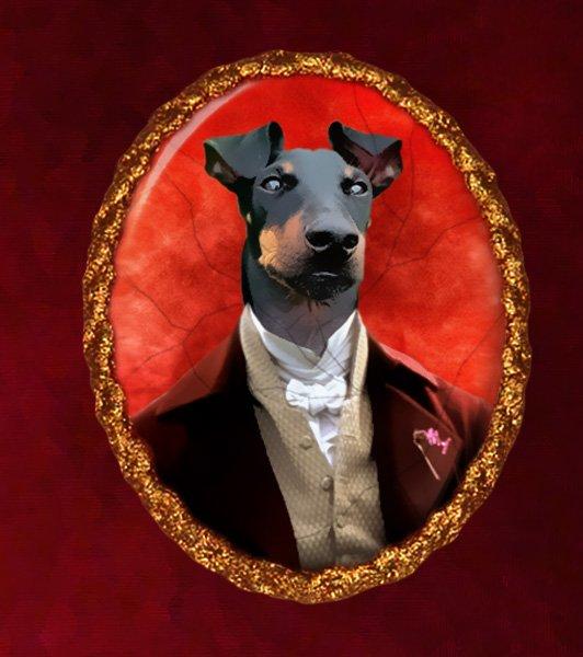 Manchester Terrier Jewelry Brooch Handcrafted Ceramic - Gentleman