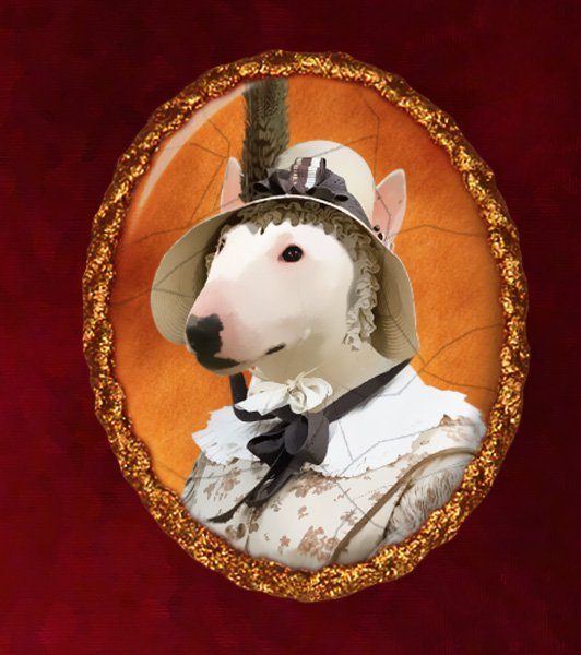 Miniature Bullterrier Jewelry Brooch Handcrafted Ceramic - Lady with Hat