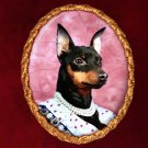 Miniature Pinscher Jewelry Brooch Handcrafted Ceramic - Tudor Lady