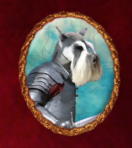 Miniature Schnauzer Jewelry Brooch Handcrafted Ceramic - Brave Knight Gold Frame