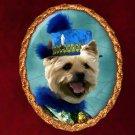 Norwich Terrier Jewelry Brooch Handcrafted Ceramic - Blue Duke