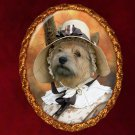 Norwich Terrier Jewelry Brooch Handcrafted Ceramic - Lady with Hat