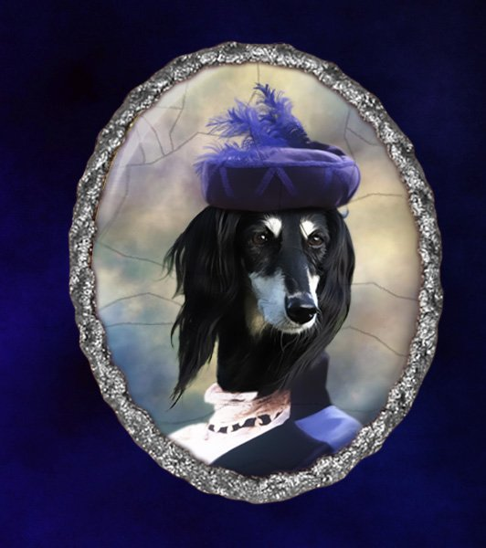 Saluki Jewelry Brooch Handcrafted Ceramic - Blue Lady Silver Frame