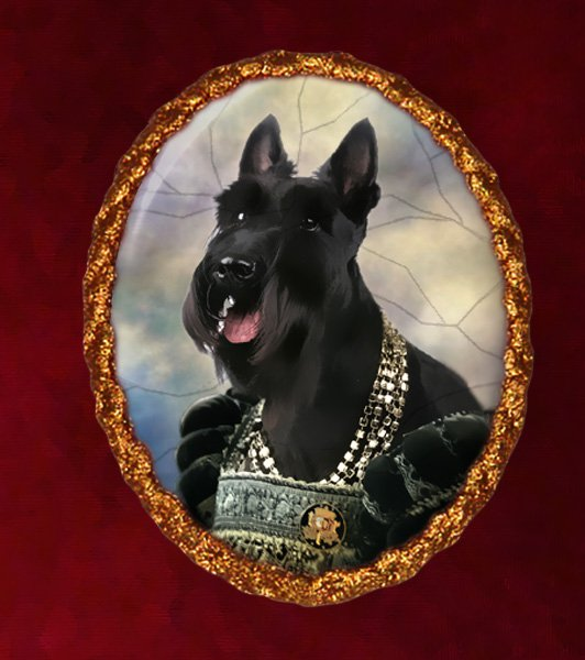 Scottish Terrier Jewelry Brooch Handcrafted Ceramic - Queen Gold Frame