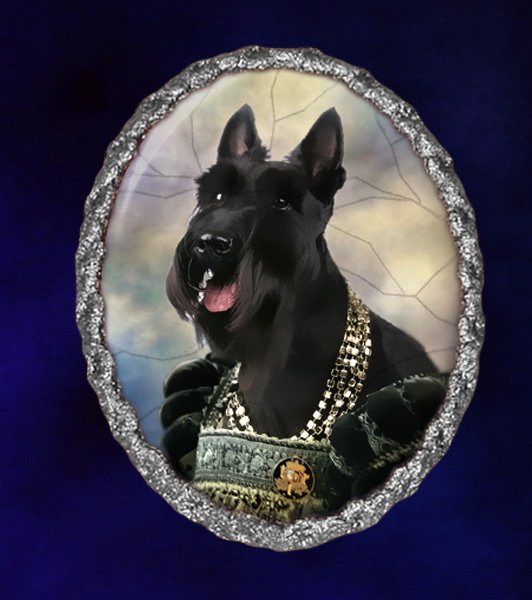 Scottish Terrier Jewelry Brooch Handcrafted Ceramic - Queen Silver Frame
