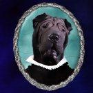 Shar Pei Jewelry Brooch Handcrafted Ceramic - Black Duke Silver Frame