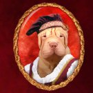 Shar Pei Jewelry Brooch Handcrafted Ceramic -  Middle Age Lady