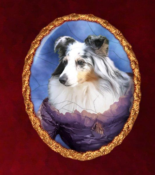 Shetland Sheepdog Jewelry Brooch Handcrafted Ceramic - Noble Lady