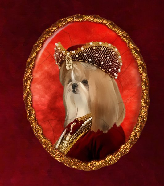 Shih Tzu Jewelry Brooch Handcrafted Ceramic - Baroness