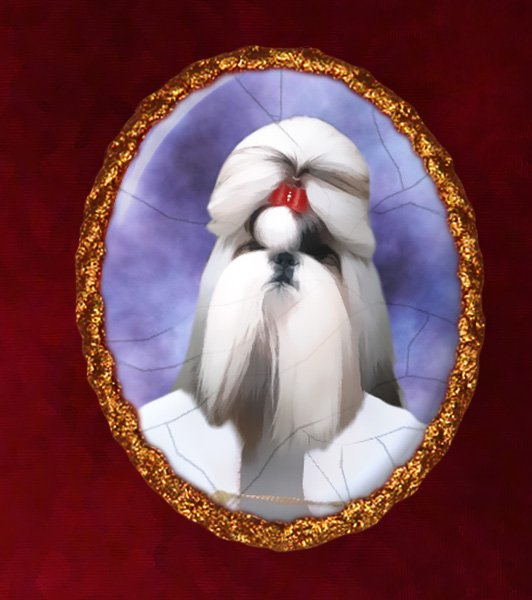 Shih Tzu Jewelry Brooch Handcrafted Ceramic - Countess Gold Frame
