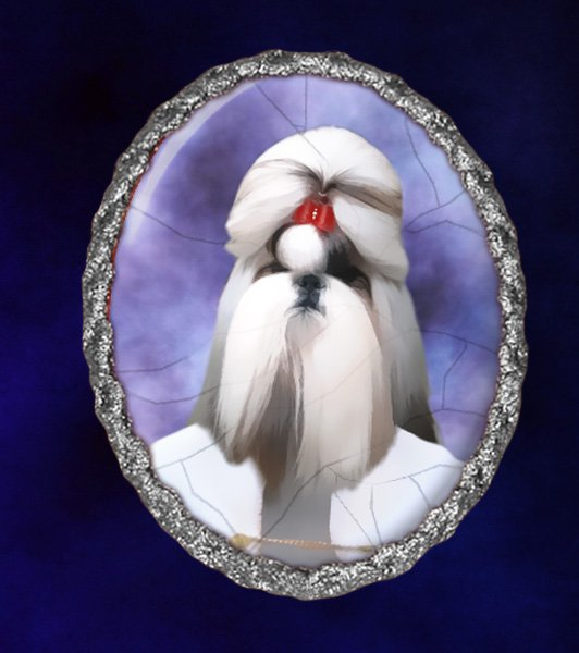 Shih Tzu Jewelry Brooch Handcrafted Ceramic - Countess Silver Frame