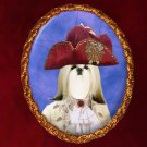 Shih Tzu Jewelry Brooch Handcrafted Ceramic - Count Gold Frame