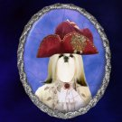 Shih Tzu Jewelry Brooch Handcrafted Ceramic - Count Silver Frame