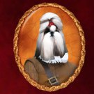 Shih Tzu Jewelry Brooch Handcrafted Ceramic - Soldier
