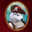 Siberian Husky Jewelry Brooch Handcrafted Ceramic - Noble Lady