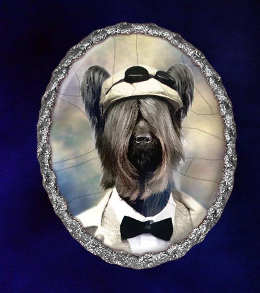 Skye Terrier Jewelry Brooch Handcrafted Ceramic -  Gentleman Silver Frame
