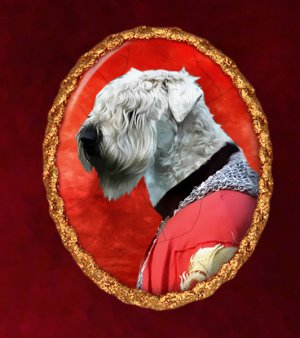 Softcoated Wheaten Terrier Jewelry Brooch Handcrafted Ceramic - Knight