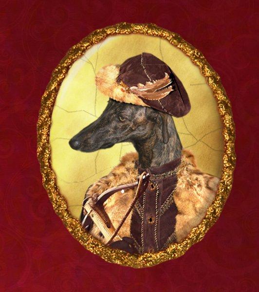 Spanish Greyhound Jewelry Brooch Handcrafted Ceramic - Hunter