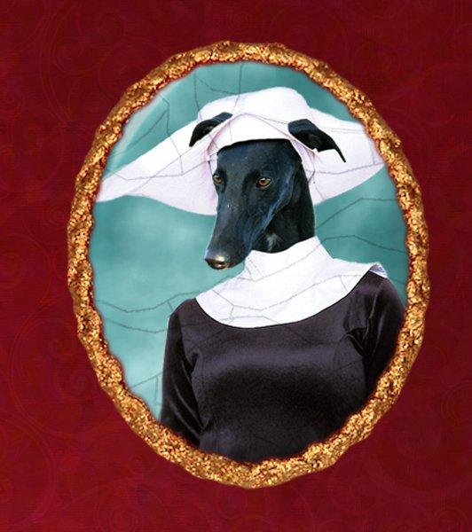 Spanish Greyhound Jewelry Brooch Handcrafted Ceramic - Nun Gold Frame
