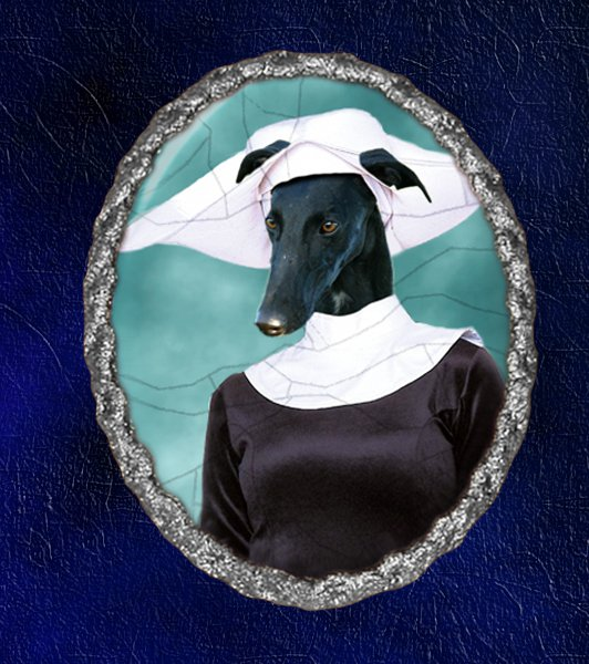 Spanish Greyhound Jewelry Brooch Handcrafted Ceramic - Nun Silver Frame
