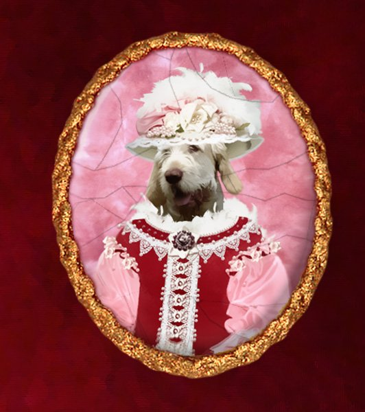 Spinone Italiano Jewelry Brooch Handcrafted Ceramic -  Pink Lady