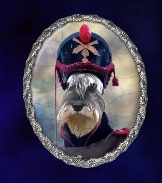 Schnauzer Jewelry Brooch Handcrafted Ceramic - Soldier Silver Frame
