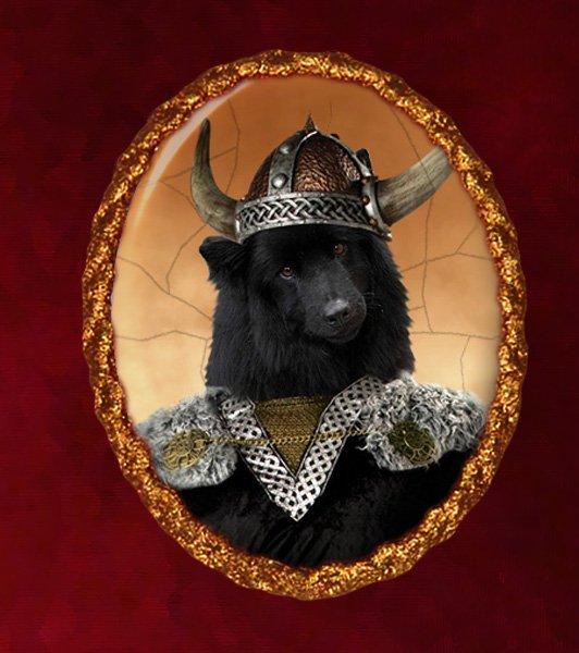 Swedish Lapphund Jewelry Brooch Handcrafted Ceramic - Brave Warrior