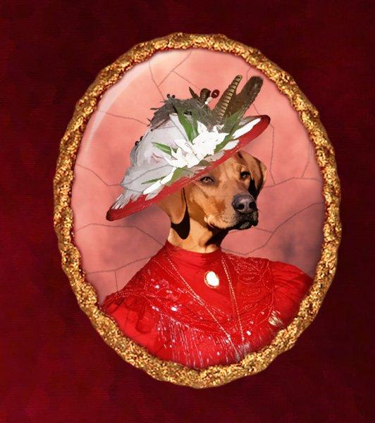 Rhodesian Ridgeback Jewelry Brooch Handcrafted Ceramic - Red Lady