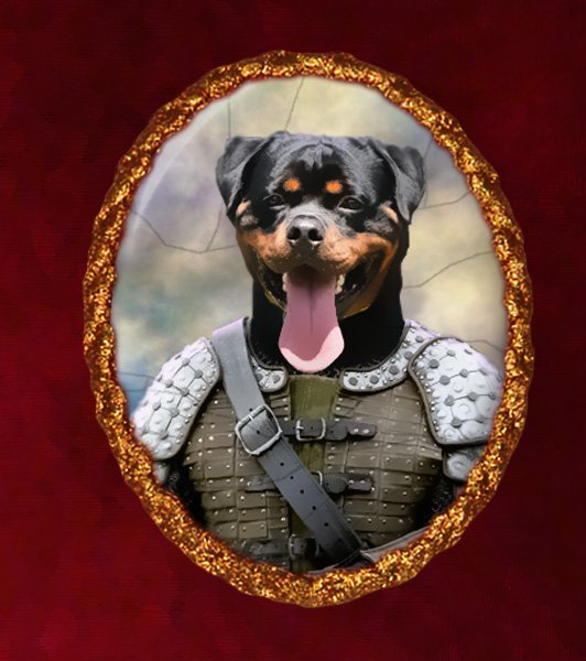 Rottweiler Jewelry Brooch Handcrafted Ceramic - Knight Gold Frame