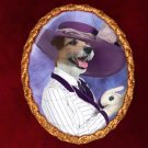Parson Russell Terrier Jewelry Brooch Handcrafted Ceramic - Titanic Lady Gold Frame