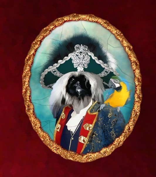 Pekingese Jewelry Brooch Handcrafted Ceramic - Pirate with Ara Gold Frame
