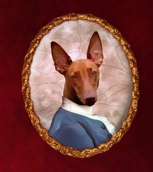 Pharaoh Hound Jewelry Brooch Handcrafted Ceramic - Baron