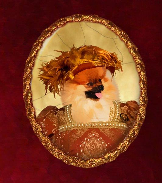 Pomeranian Jewelry Brooch Handcrafted Ceramic - Queen