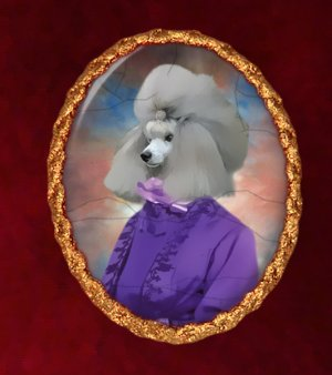 Poodle Jewelry Brooch Handcrafted Ceramic -  Noble Lady