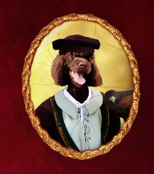 Portuguese Water Dog Jewelry Brooch Handcrafted Ceramic - Falconer