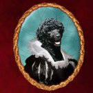 Portuguese Water Dog Jewelry Brooch Handcrafted Ceramic -  Flemish Lady Gold Frame
