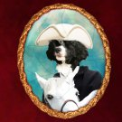 Portuguese Water Dog Jewelry Brooch Handcrafted Ceramic -  Horse Rider Gold Frame