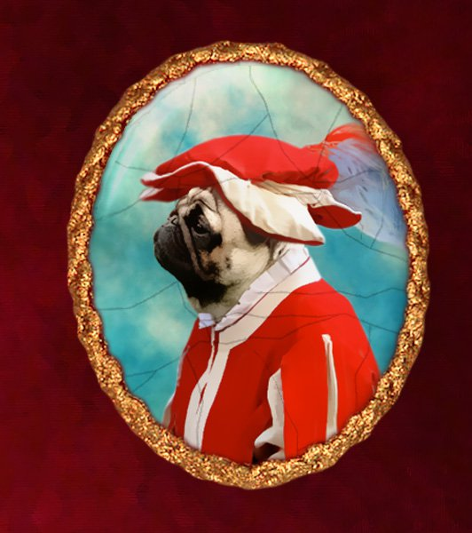 Pug Jewelry Brooch Handcrafted Ceramic - Red Soldier Gold Frame