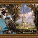 Afghan Hound Fine Art Canvas Print - Lady Owl near Cathedral