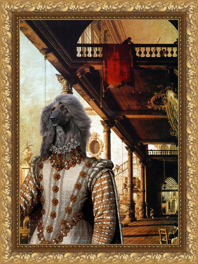 Afghan Hound Fine Art Canvas Print - Capriccio of Colonade and the Courtyard