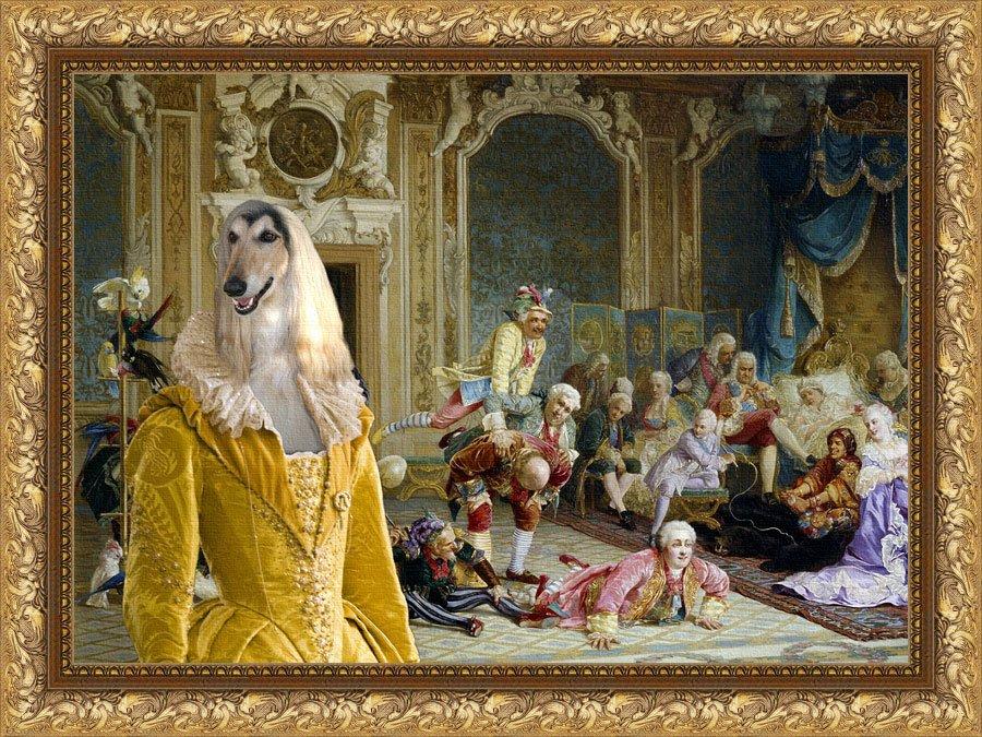 Afghan Hound Fine Art Canvas Print - The Madam and Joyfull Friends