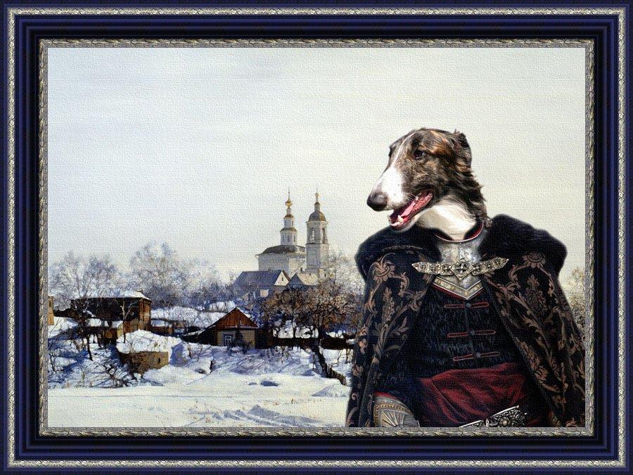 Borzoi Fine Art Canvas Print - Prince in the winter landscape