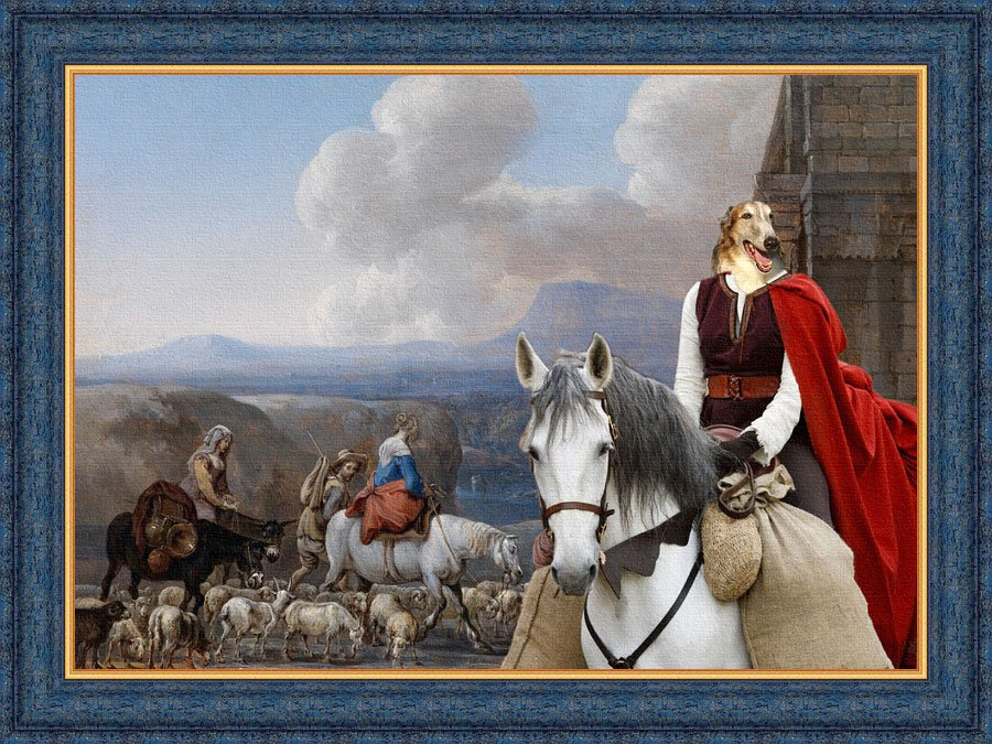 Borzoi Fine Art Canvas Print - Middle Age Lady