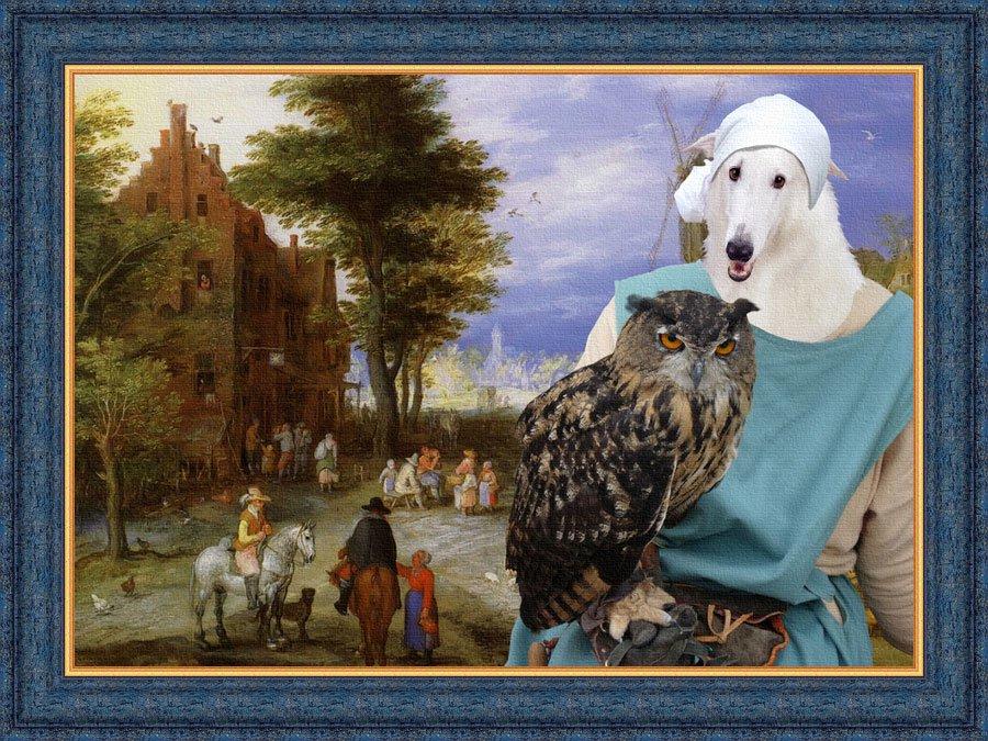 Borzoi Fine Art Canvas Print - Rural idyll with Lady owl
