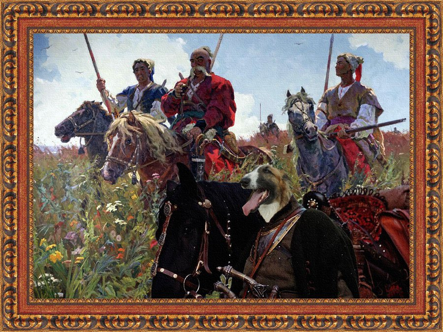 Borzoi Fine Art Canvas Print - Taras Bulba with Cossaks