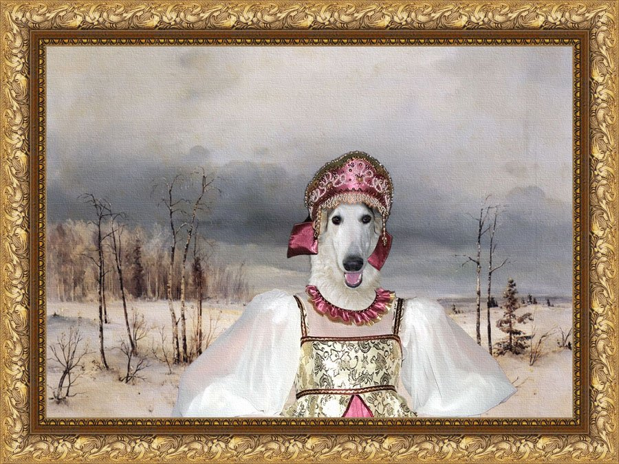 Borzoi Fine Art Canvas Print -  New snow on the road