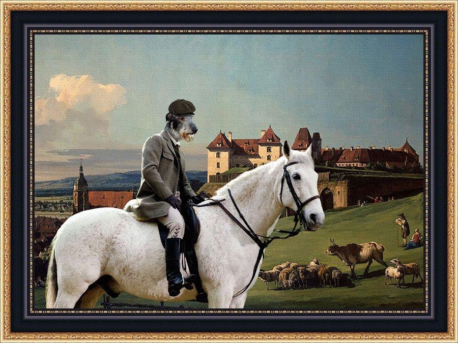 Scottish Deerhound Fine Art Canvas Print - The landscape with rider, castle and shepherd
