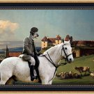 Scottish Deerhound Fine Art Canvas Print - The landscape with rider, castle and shepherd