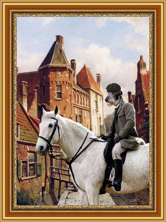 Scottish Deerhound Fine Art Canvas Print - Rider on the streets of the old town