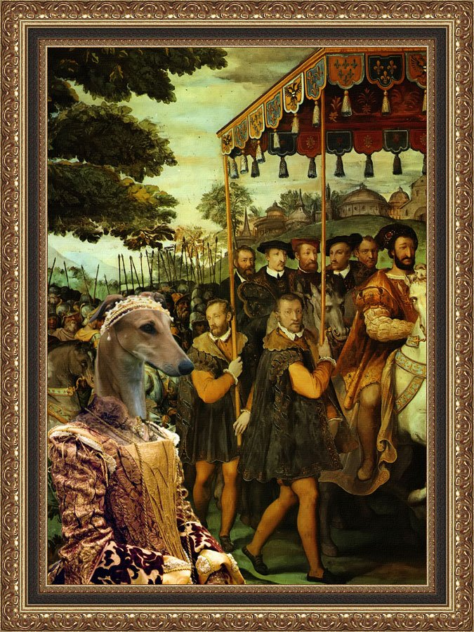 Greyhound Fine Art Canvas Print - King and his suite